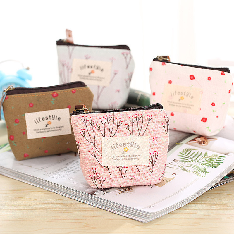 Fashion Linen Coin Purse Women Zipper Lovely Brown Female Blue Simple Bag Small White Pink Coin Package Girls