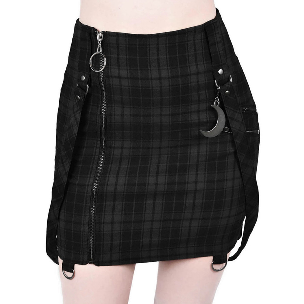 Gothic Black Skirt Women Plaid Zipper Sheath Mini Skirt Fashion Ladies Pencil Skirts Sexy High Waist Zip Punk Female Falda D30