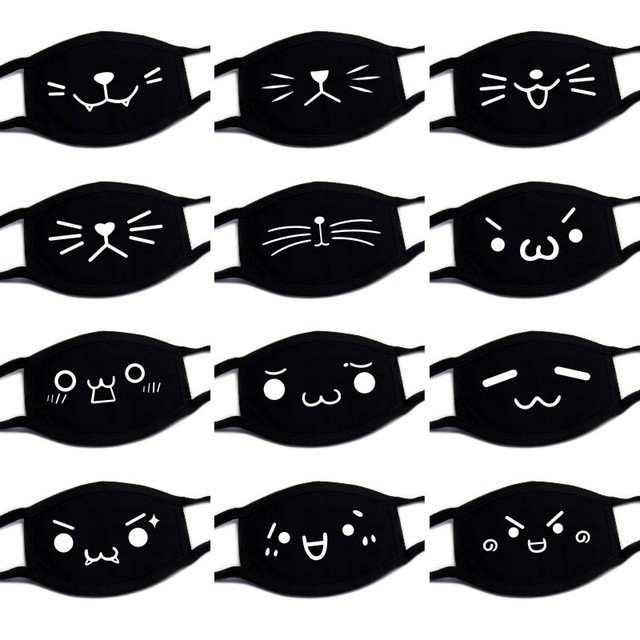 Black Unisex Cartoon Cat Funny Expression Face Mask Cotton Breathable Mouth Mask Anti-dust Pollution Masks Woman Man Reusable 1