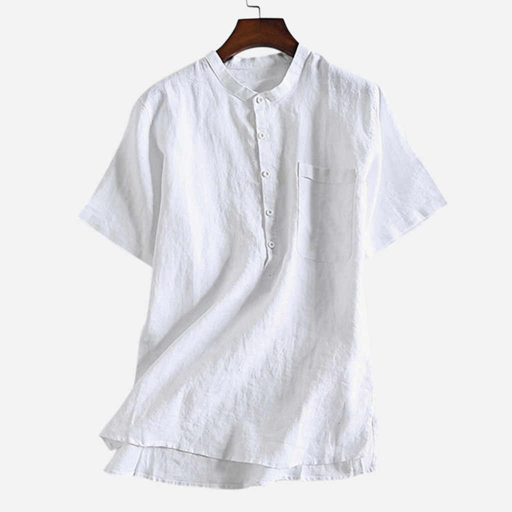 2020 Shirts Summer Men 빈티지 솔리드 컬러 코튼 린넨 버튼 셔츠 비치 블라우스 반소매 복장 camisa masculin Plus