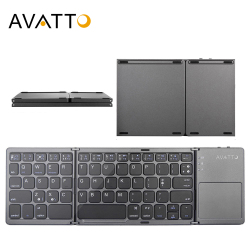 AVATTO B033 Mini katlanır klavye Bluetooth katlanabilir kablosuz tuş takımı Touchpad ile Windows, Android, ios Tablet ipad telefon