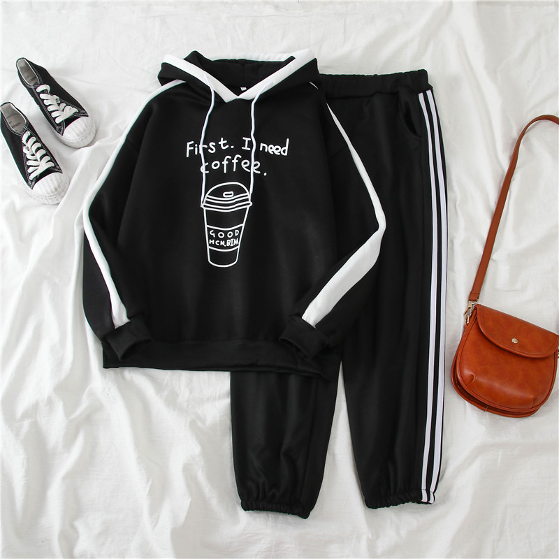 1071 # [Photo Shoot] Sports Casual WOMEN'S Suit Winter Students Brushed And Thick Hooded Two-Piece Set