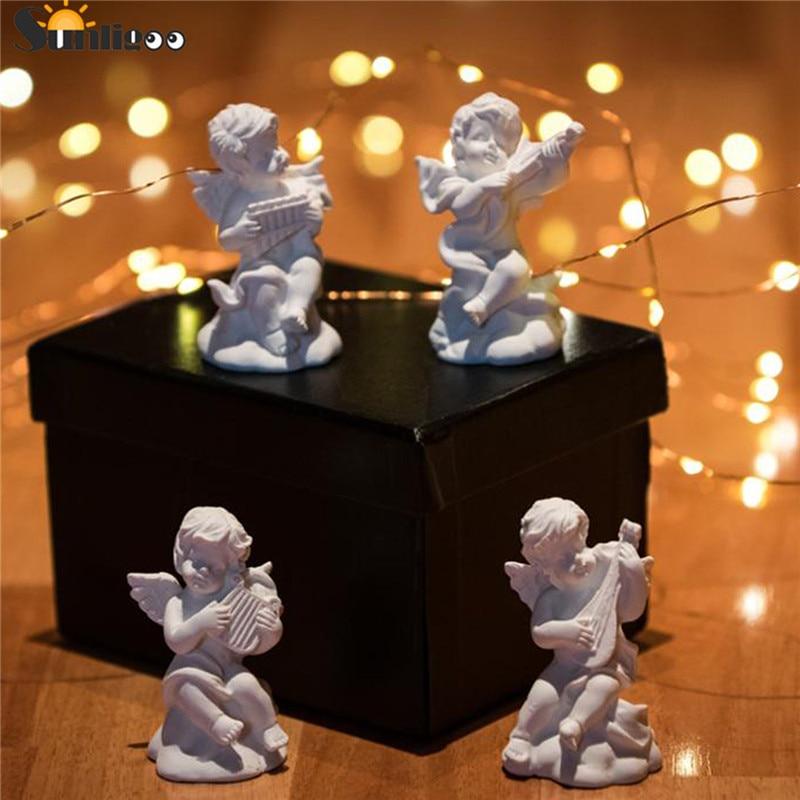 Sunligoo 4x Mini Cute Angel Statue Small Cupid Figure Home&Garden Decor Music Fairy Model Sketch Practice Estatua Festival Gift