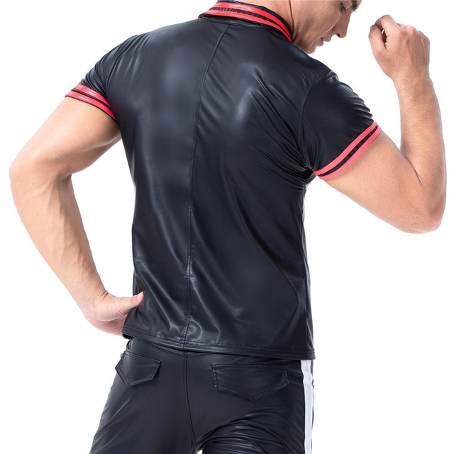Mens T-shirts PU Leather Short Sleeve Body Shapers Streetwear Plus Size Undershirts Party Clubwear Sexy Shirts Tee Chemise XXL 4