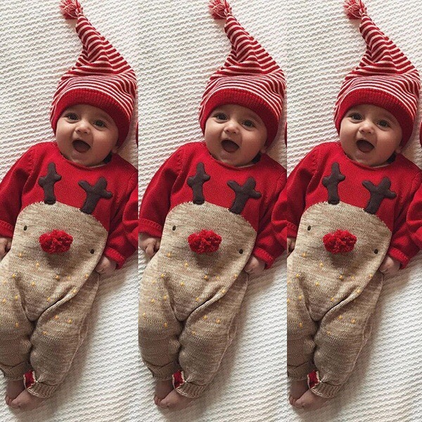 Newborn Infant Baby Boys Girl Xmas Clothes Romper Jumpsuit Hat Outfit Costume