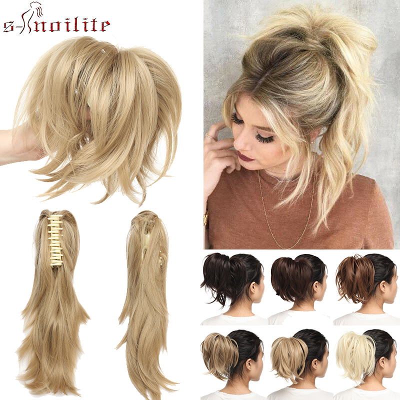 S-noilite Claw Ponytail Clip In Hair Extensions Synthetic Hair Bun Hair Pieces Pony Tail Hair Wavy Women Chignon Fake Hair