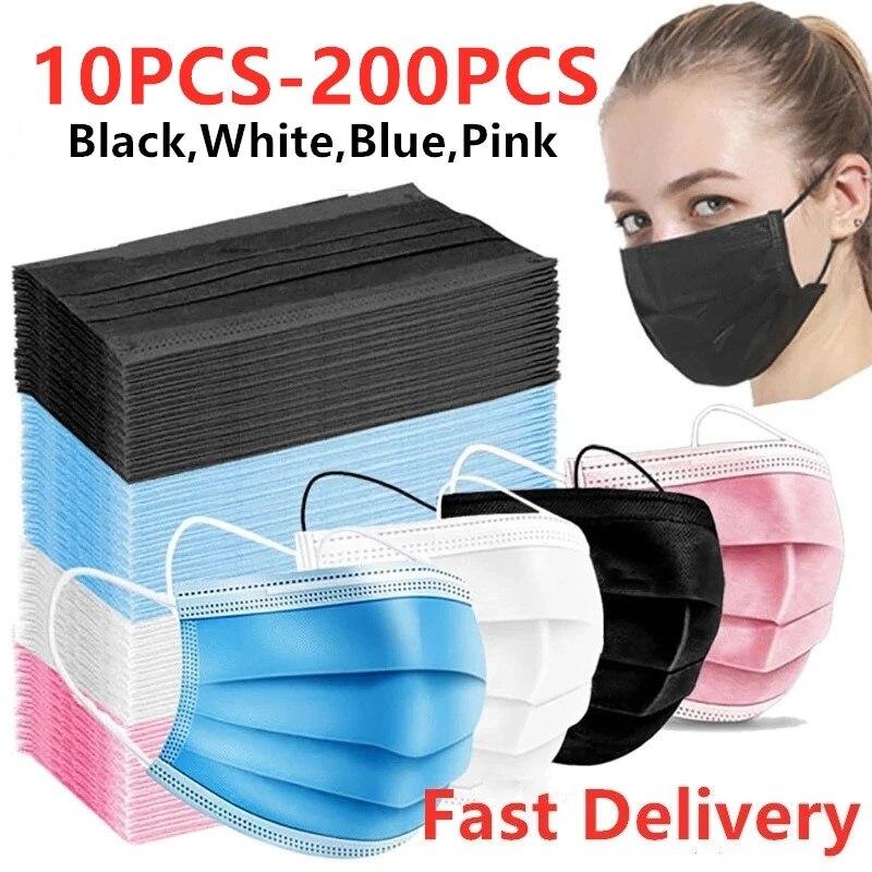 10-200 máscara descartável dos pces máscaras faciais não-tecido 3ply boca máscara filtro anti poeira protetora respirável earloops máscara em estoque