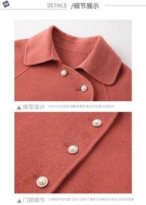 Image 2 - Wysokiej jakości dwustronny wełniany płaszcz w długi płaszcz wełniany kołnierzyk dla lalek moda A Line luźny wełniany płaszcz kobiety Winter Warm