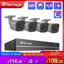 Techage H.265 4CH 5MP POE NVR Kit système de vidéosurveillance deux voies Audio alarme son AI IP caméra IR extérieur vidéo sécurité ensemble de Surveillance