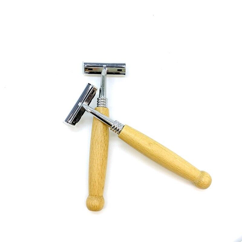 Shaving Razor Natural Wooden Handle Safety Razor Edge Stainless Steel Barber Safety Razor
