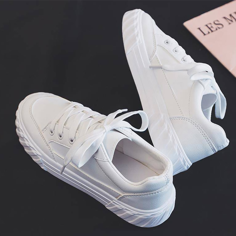 White Leather Sneakers Womens Leather Shoes Unisex Sneakers Autumn 2020 New Runway Shoes Woman Comfort Sneakers School Shoes