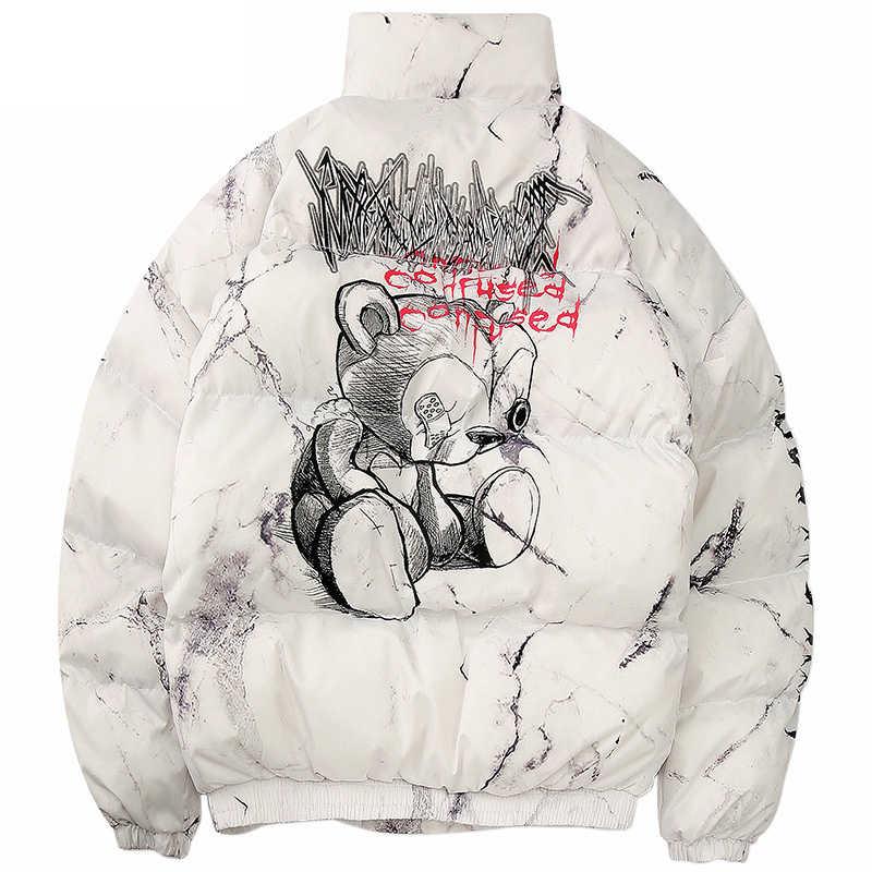Hipsterฤดูหนาวลงเสื้อแจ็คเก็ตผู้ชายพิมพ์การ์ตูนParkaผู้ชายHip Hop Streetwearฤดูหนาวเสื้อแจ็คเก็ตอุ่นหนาเสื้อผู้ชายเสื้อผ้า