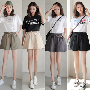 Women shorts Summer Casual Solid Cotton Linen shorts high waist loose shorts for girls Soft Cool female short S-XL(China)