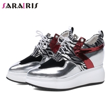 SARAIRIS New Autumn Height Increasing Sneakers Women 2019 Genuine Leather Platform Shoes Woman Leopard High