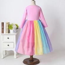 Ress Toddler Baby Girls Long Sleeve Rainbow Print TuTu Dress Clothes Roupas Infantis Menina Kids Dresses For Girls Vestidos 1-6Y стоимость