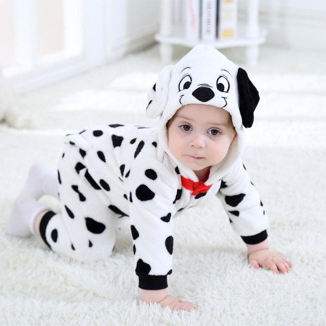 Umorden Baby Dalmatians Spotty Dog Costume Kigurumi Cartoon Animal Rompers Infant Toddler Jumpsuit Flannel Halloween Fancy Dress