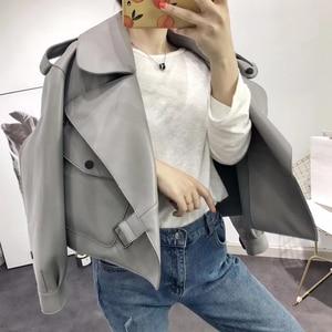 Image 4 - 革のジャケットの女性プラスサイズのシープスキンのコート 2020 atutmn冬のコートやジャケット女性カジュアル女性のオーバーコート