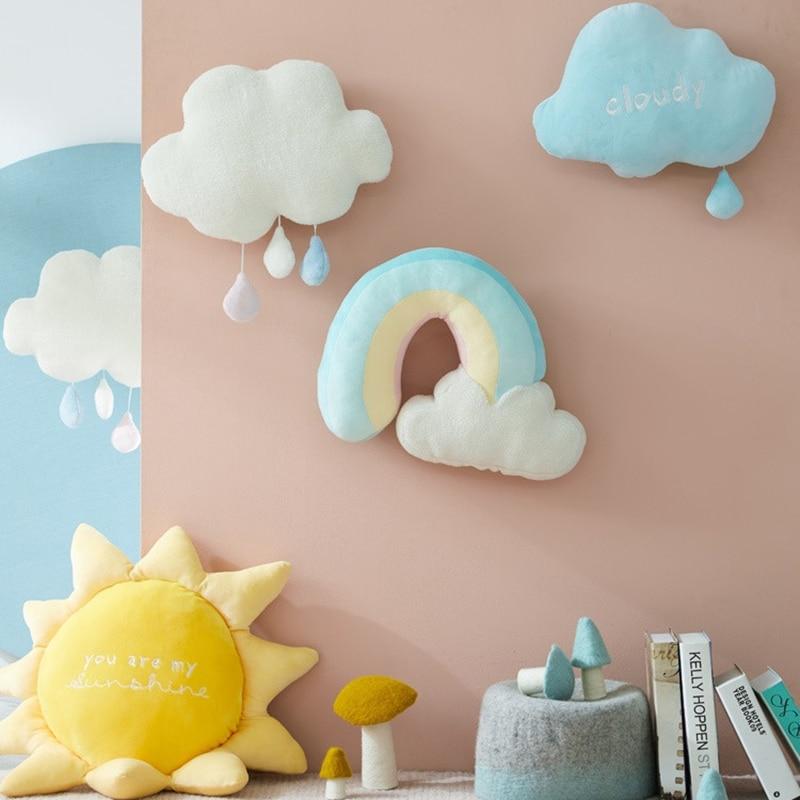 Cute Creative Rainbow Sun Cloud Plush Toy Stuffed Sun Cloudy Natural Weather Soft Doll Home Decoration Pillow Kids Toys