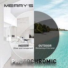 MERRYS, анти-синий светильник, фотохромные лучи, серия 1,56 1,61 1,67, CR-39 по рецепту, асферические стекла, линзы для близорукости