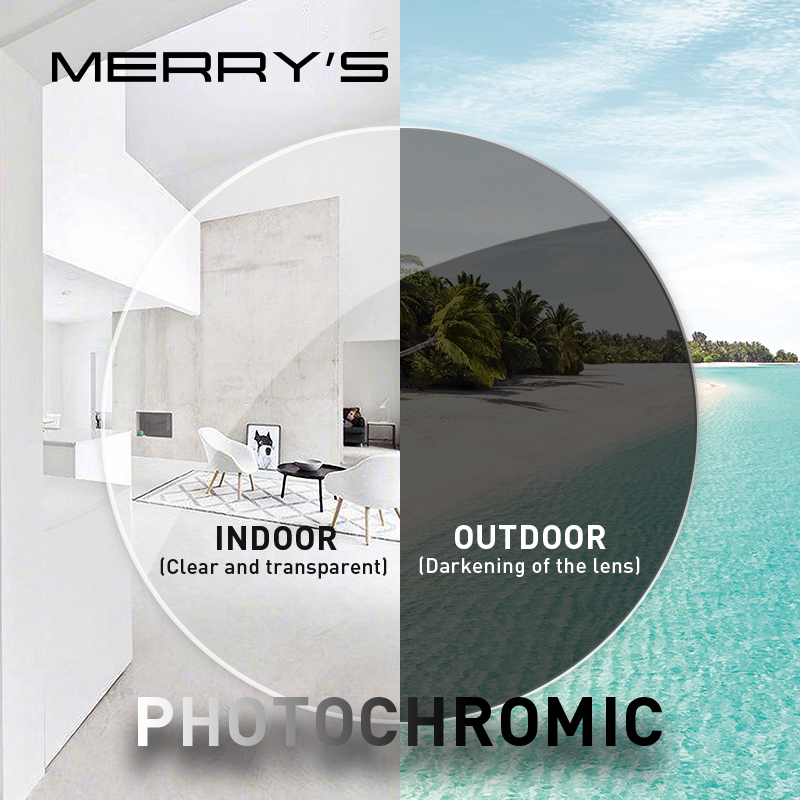 MERRYS Anti Blue Light Rays Photochromic Series 1.56 1.61 1.67 Prescription CR-39 Resin Aspheric Glasses Lenses Myopia Lens