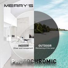MERRYS lentes fotocromáticas para miopía, gafas asféricas de resina graduadas para CR 39, serie fotocromática 1,56 1,61 1,67