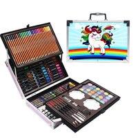 School Season Painting Double Aluminum Box Watercolor Pen 145 Pcs Children Crayon Gift Box Student Stationery School Supplies