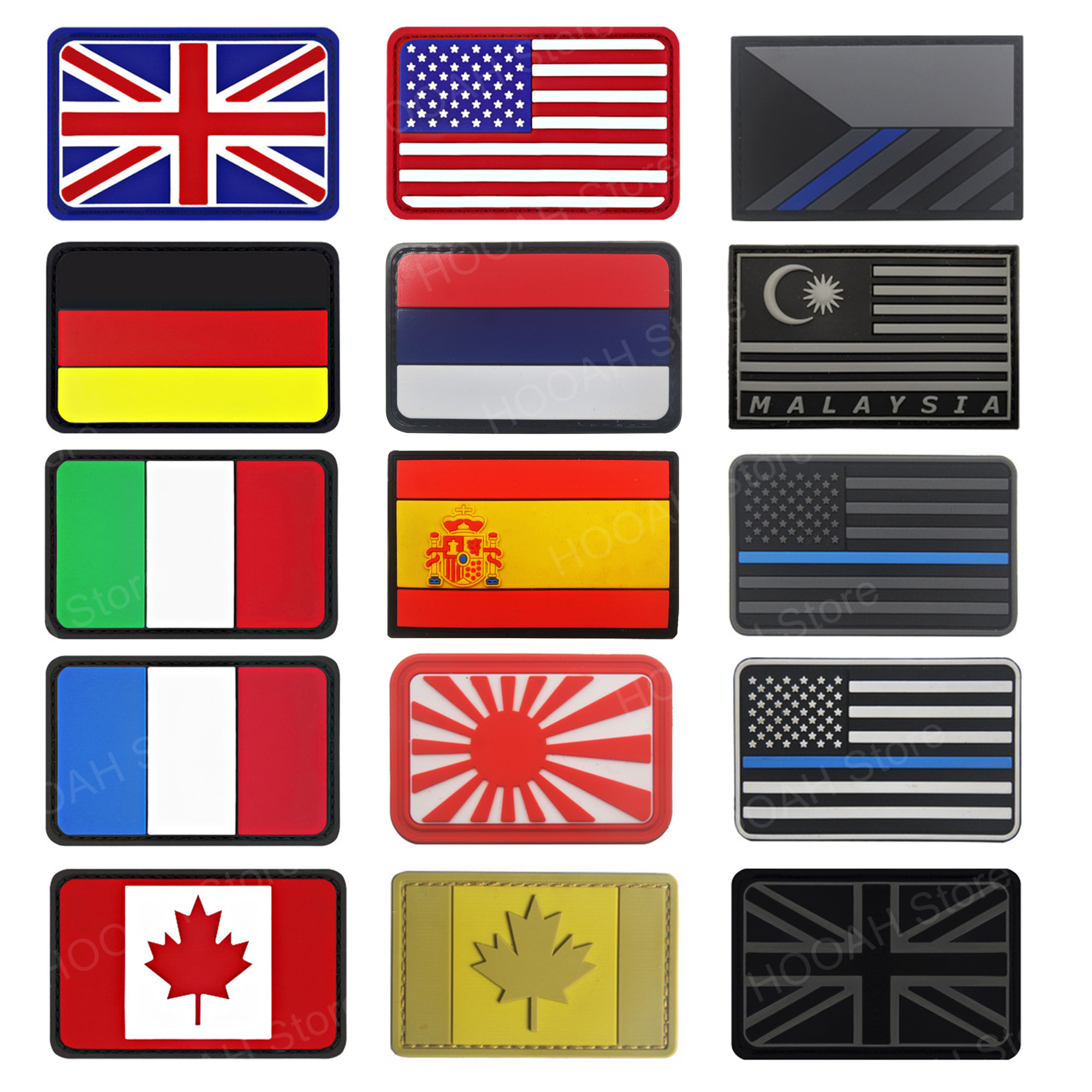 PVC Flag patch United Kingdom Germany Czech France Italy US Russia Canada USA Malaysia Spain Australia Military Morale Patch(China)