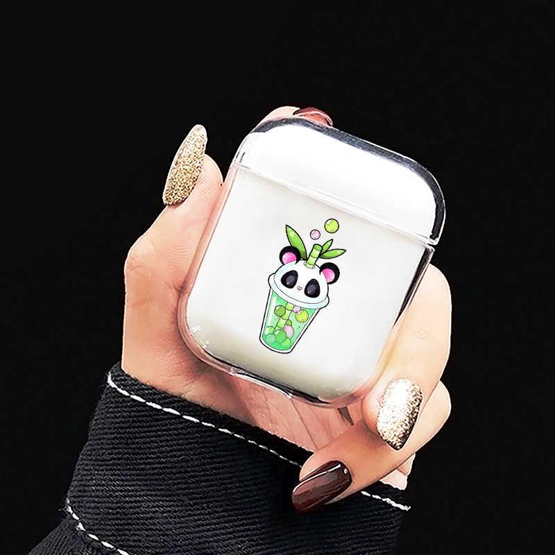 Trasparente In morbido Silicone Della Cassa Auricolare Per Apple Airpods 1/2 Casella di Ricarica Sveglio Del Fumetto Latte Tè Doughnt Caso Della Copertura Per Aria baccelli