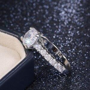 Image 5 - Huitan nowy zaprojektowane klasyczne 4 pazury cyrkonia wysokiej jakości olśniewający ślub ceremonia ślubna kobiety pierścień szlachetna biżuteria