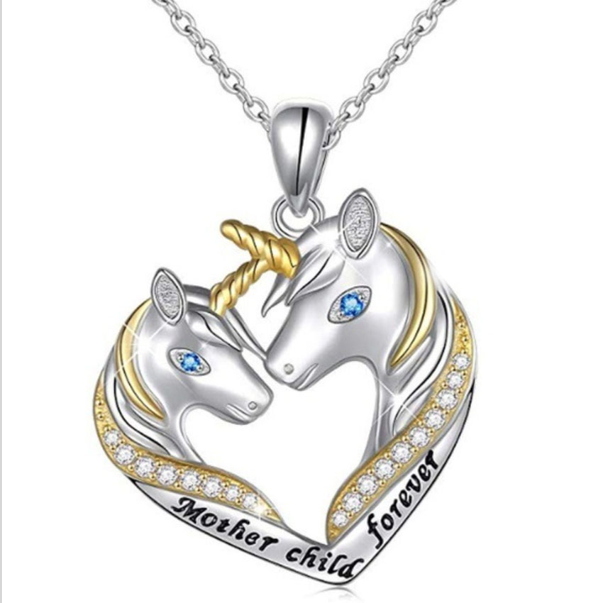 New Arrival Mother Child Forever Letter Unicorn Heart Pendant Necklace for Women Teen Girls Gift Silver Austrian Crystal Jewelry image