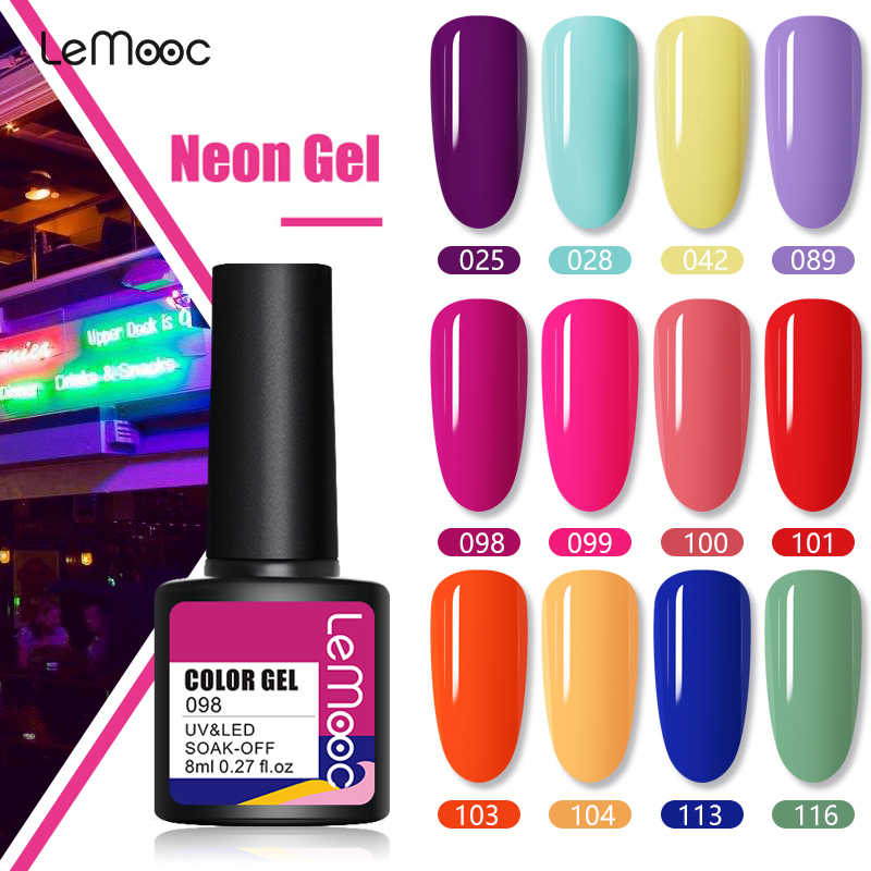 Lemooc 8Ml Neon Gel Polish Uv Led Lamp Gel Vernissen Hybrid Manicure Set Voor Nail Art Nodig Base Top jas Diy Nail Design