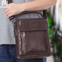 MISFITS genuine cow leather men shoulder crossbody bag casual small messenger bag for male handbag flap pocket business man bag