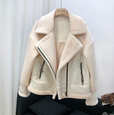 2019 Winterjacke Frauen Revers Mantel Lammfell Wildleder Pelzmantel Doppelseitige Leder Schaf Kapuze Dicke Warme Streetwear