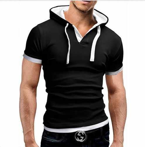 2019 erkek T Shirt Yaz Ince Spor Kapüşonlu Kısa Kollu Tees Erkek Sportswer T-Shirt Slim Tshirt Homme 5XL
