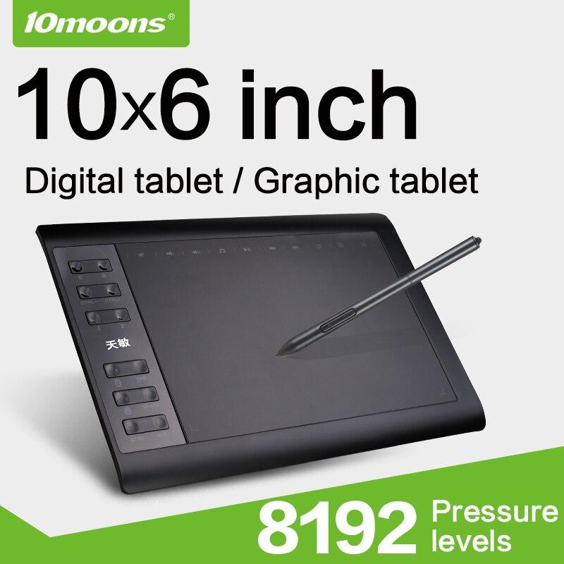 10moons 10x6 Polegada tablet de desenho gráfico, 8192 níveis de tablet digital sem necessidade de carga, caneta