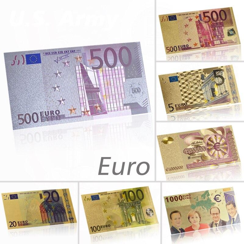 WR цветные евро 500 Поддельные Банкноты серебряная фольга евро банкноты сбор бумажных денег банкноты для сувенирного подарка Прямая поставка