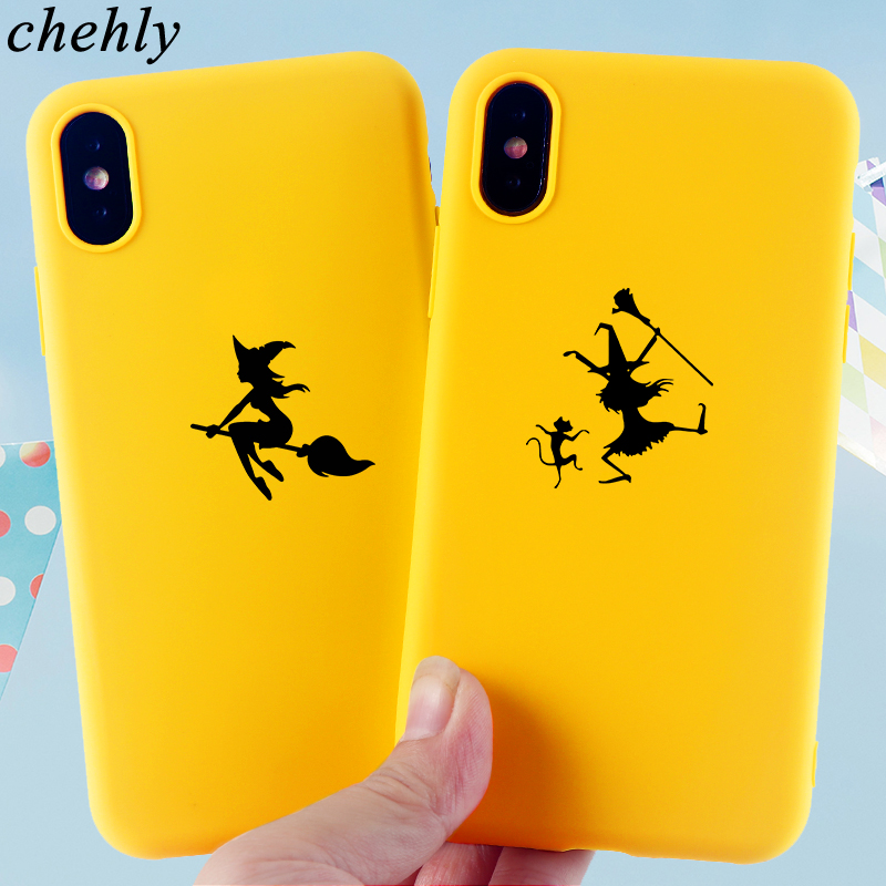 Phone Case for IPhone 6s 7 8 11 Plus Pro X XS Max XR Fashion Witch Cases Soft Silicone Fitted TPU Back phone Accessories Covers