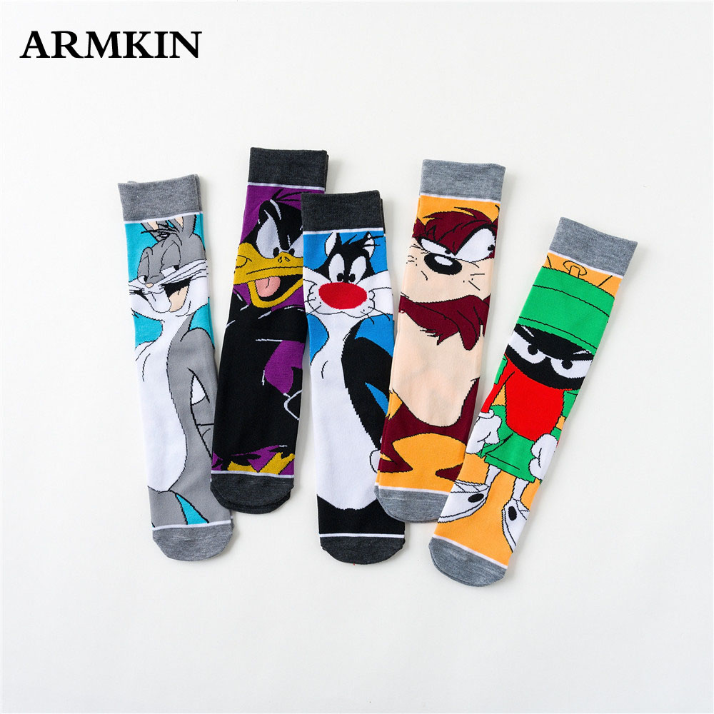 ARMKIN 3 Pairs/Lot Korea Casual Style Women Socks Cartoon Rabbit Duck Men Animal Socks Kawaii Unisex Long Socks Happy Funny Sock