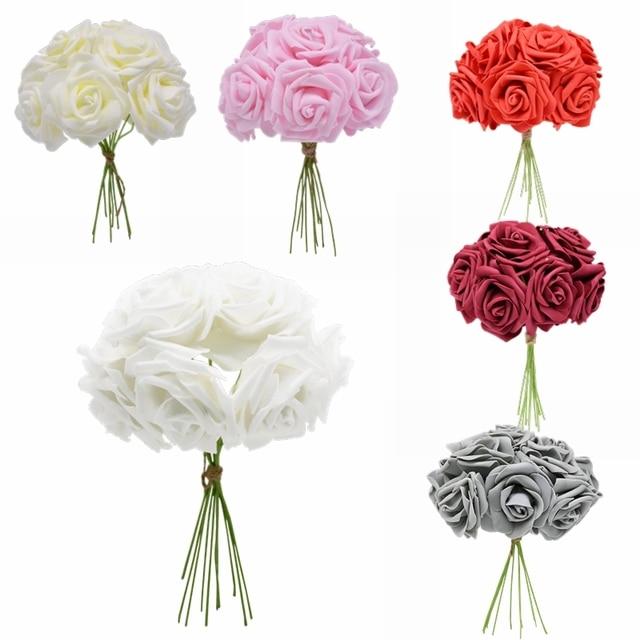 24 sztuk 7cm biała róża sztuczny róża z pianki polietylenowej ślub wystrój bożonarodzeniowy bukiet ślubny Scrapbooking, rzemiosło sztuczny kwiat DIY Supplie