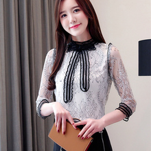 Autumn Korean Fashion Chiffon Women Blouses Lace White Shirts Plus Size XXL Blusas Femininas Elegante Ladies Tops
