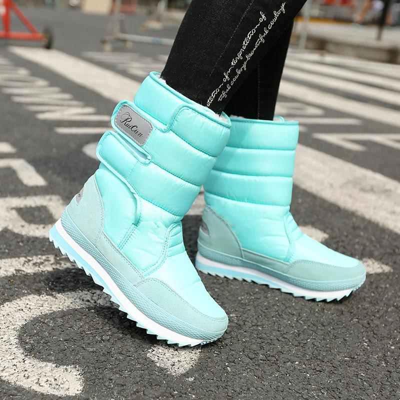 Entrega rápida botas femininas 2019 plataforma sapatos quentes mulher botas de inverno à prova dwaterproof água de veludo colorido botas de neve senhoras sapato