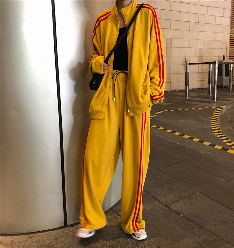Mooirue Harajuku Stripe Casual Pant Set Women Loose Coat High Waist Drawstring Wide Leg Trousers Matching Sets Plus Size Outfits