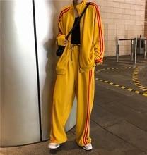 Mooirue Harajuku Stripe Casual Pant Set Women Loose Coat High Waist Drawstring Wide Leg Trousers Matching Sets Plus Size Outfits