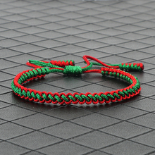 Tybetańskie buddyjskie bransoletki z amuletami szczęścia i Bangles dla kobiet mężczyzn ręcznie węzłów zielona czerwona linka Christmas Gift bransoletka biżuteria tanie tanio shshd Chain link bransoletki Zakochanych Brak Moda TRENDY Koronki Łańcuch liny ROUND Ukryte-zapięcie z bezpieczeństwem