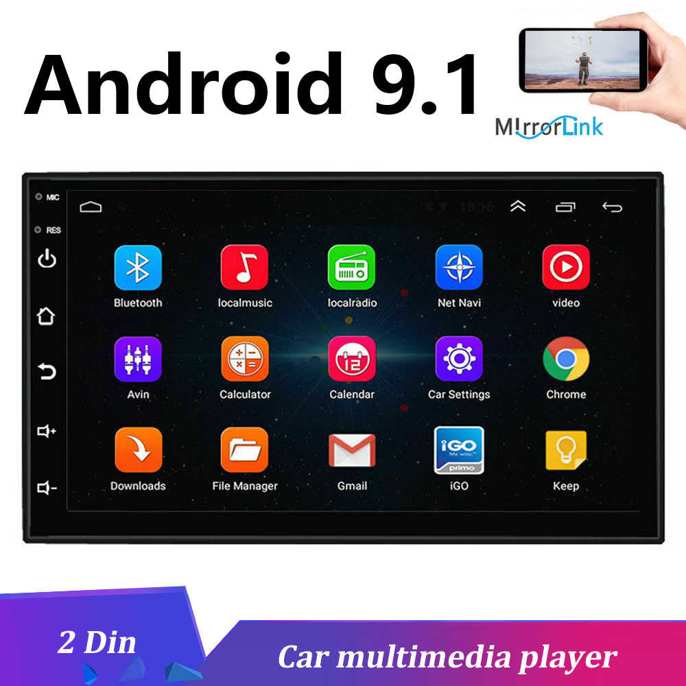 2 DIN Android 9.1 2GB RAM 32GB ROM Mobil Radio Multimedia Player Touch Screen Stereo Gps Navigasi untuk univeral Auto Radio