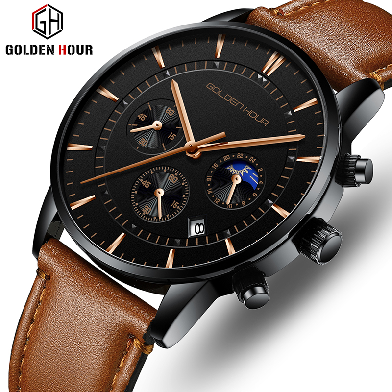GOLDENHOUR Men's Watch Top Brand Luxury Fashion Quartz Watch Men Leather Waterproof Sports Wrist Watch Male Relogio Masculino