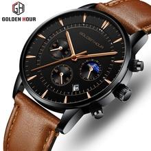 GOLDENHOUR reloj para hombre, de cuarzo, de lujo, de pulsera, deportivo, resistente al agua, de cuero, Masculino