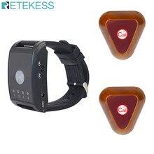 Retekess 4 canais restaurante sistema de chamada 1 relógio pager + 2 botões chamada garçom sem fio pager office bar f4411a