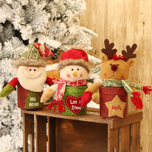1pc 24x9cm Cloth Christmas Decorations  Candy Gift Boxes For Xmas Holiday Party Kids Cartoon Animal New
