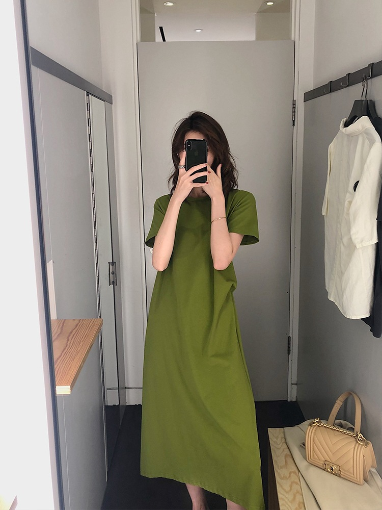 T-shirt Dress Long Women's Summer 2019 New Style Loose-Fit Slimming Short Sleeve Over-the-Knee Avocado Green Dress